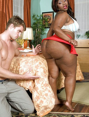 Black bbw girl Mz Booty stripped from tight jeans and gets cum on her fat ass