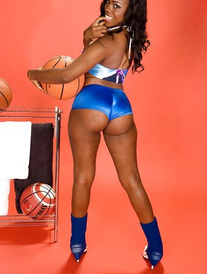 Black hottie in sleek sporty underwear puts her huge butt on display