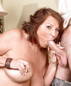 Sexy fat mom Suzie Wood teasing huge cock and getting creamy facial