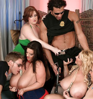 Busty BBW lesbo party turns into orgy when strippers arrive