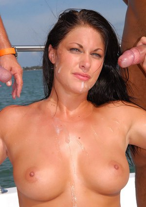Luscious dark-haired milf gets MMF group sex and big cumshot