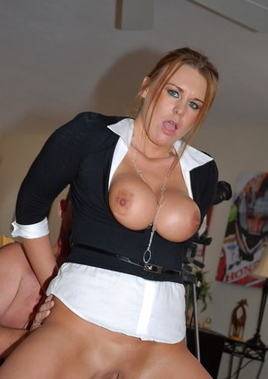 Serious busty businesswoman turns out to be just a horny milf