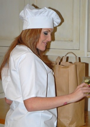 Curvy milf in cook's uniform goes from food to hardcore sex