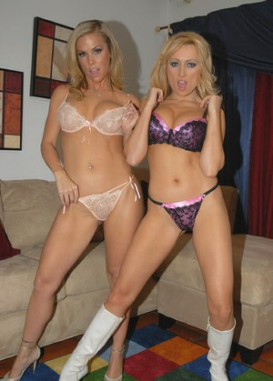 Two hot ass busty milfs pose in lingerie and pleasure one man