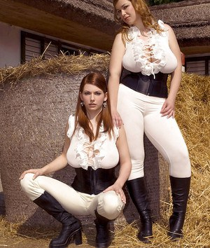 Hot fatty Christy Marks wen to countryside with her busty friend and they all enjoyed sucking their servant's huge manhood.