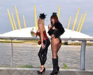 Three slutty mature bitches dressed up in kinky, provocative lingerie and started licking and kissing each other outdoors.