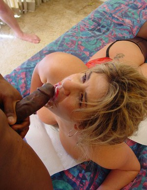 Very slutty blonde MILF lady got roughly gang banged by group of potent young hunks.