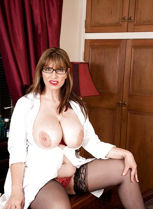 BBW mom in glasses Josephine James stripping from white robe and sexy lingerie