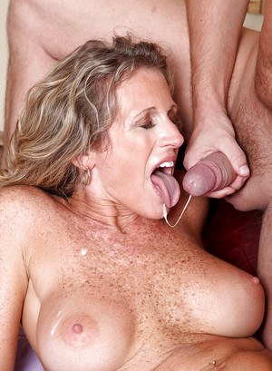 Busty mature is hot for nasty fuck and enjoys having cum on her freckled tits