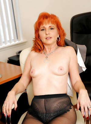 Luscious MILF Sasha Brand stripping from pantyhose and masturbting in the office