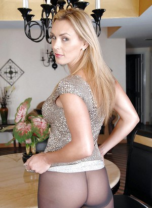 Fervent mature Tanya Tate flaunting in grey pantyhose on her tight booty