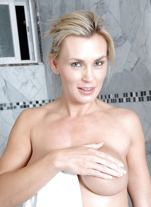 Incredibly sexy mom Tanya Tate toying and rubbing her hot pussy in the shower
