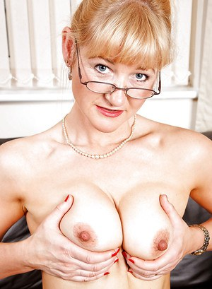 Mature secretary in glasses stripping and vibrating clit with her phone