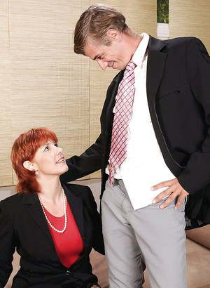 Hot redhead mature fatty in black stockings fucks with a teen stud