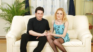 Scarlette Sax, MILF in black stockings fucks with horny handsome stag.