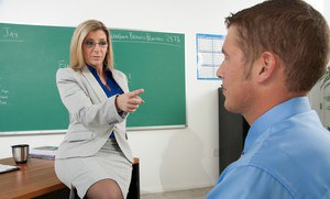Horny blonde MILF Sara Jay as a teacher in reality hardcore porn.