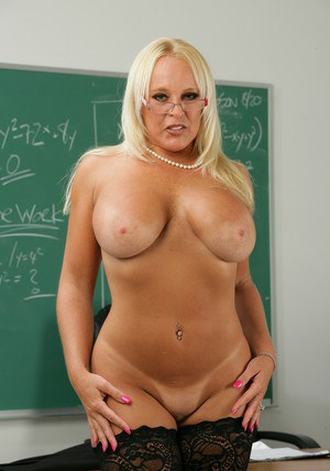 Mature fatty teacher Alexis Golden posing in high heels and lingerie.
