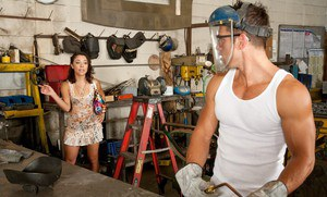 Teen Kristina Rose hits her BF's workshop to get hardcore sex