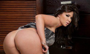 Sultry wife Dylan Riley posing nude and fondling round hooters