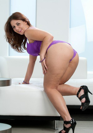 BBW wife Lexxxi Lockhart strips from violet underwear and masturbates