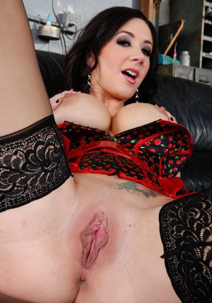 Hot babe Jayden Jaymes flashing boobs in lingerie and stockings