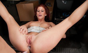 Redheaded hottie Brooklyn Lee gets her shaved pussy fucked in the van