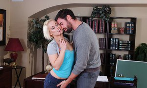 Blond college cocksucker Ash Hollywood gets fucked with a big cock
