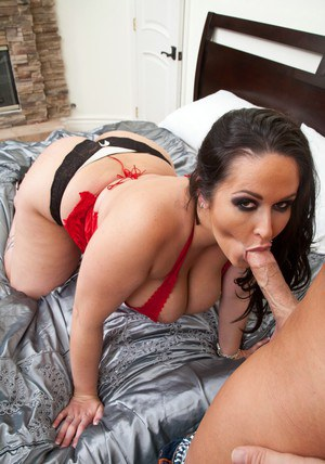 Busty wife Carmella Bing strips from red corset and mounting hard dick
