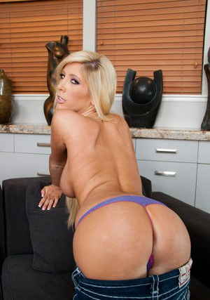 Delightsome wife Tasha Reign stripping from jeans to expose her booty