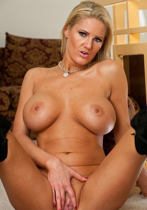 Blond MILF Zoe Holiday stripping from underwear and posing in boots
