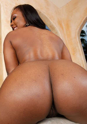 Stunning ebony babe Ms. Platinum exposing pussy and fat black butt
