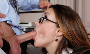 Stunning hottie in glasses Allie Haze enjoys fiery sex in the office