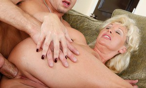 Blond mature JoAnna Storm gets her tight butthole stretched and fucked