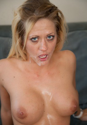 Busty wife Holly Heart nailing her shaved pussy on erected dong