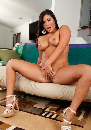 Asian wife London Keyes denudes fat titties and masturbates fiercely