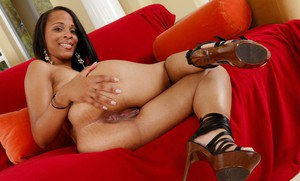 Sexy ebony wife Neveah Keyz showing off black ass and pink pussy