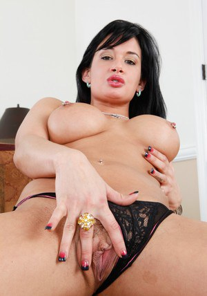 Brunette wife Tory Lane fondling nice juggs and spreading shapely ass