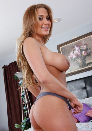 Lovesome wife Alanah Rae stripping in the bedroom to play with hooters