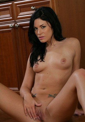 Brunette wife Andy San Dimas exposing her big ass and little pussy