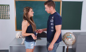 Flirtatious college babe Carmen McCarthy fucks on the teachers desk