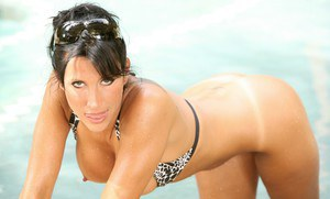 Athletic MILF in bikini Lezley Zen showing off her assets at the pool