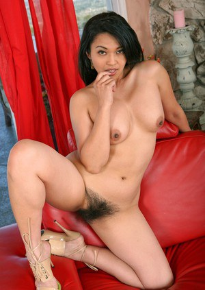 Asian wife Mika Tan stripping from lingerie and caressing hairy cunt