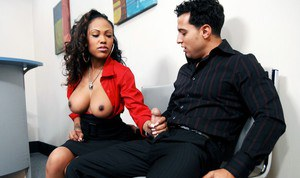Black babe Lacey DuValle gets her pussy licked and banged in the office