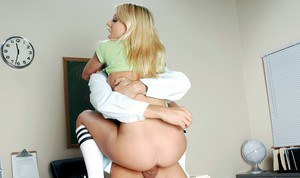 Busty college blonde Shawna Lene screwed hard by her horny teacher