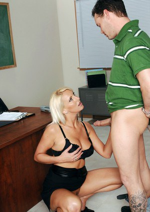 Blond teacher with ripe hooters gets licked and banged on the floor