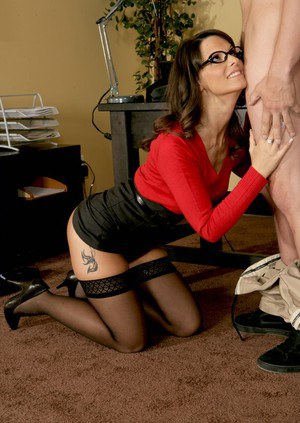 MILF teacher in stockings Syren De Mer sucking and riding hard meat