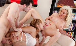 Asian MILF Ava Devine and busty blonde Diamond Foxxx in a hot gangbang