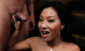 Young asian hottie Asa Akira fucked in her shaved pussy and facialized