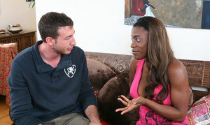 Black hottie Milan Sterling brings out big tits and mounts a big cock