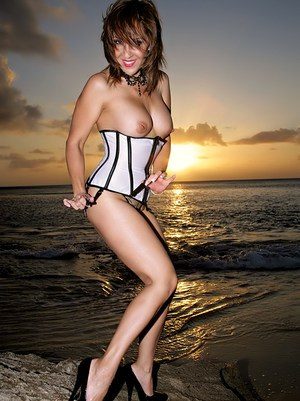 Glamorous Roni posing in gartered stockings and lingerie on the beach